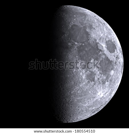 Half Moon as seen through a telescope. Sharp details on the surface.