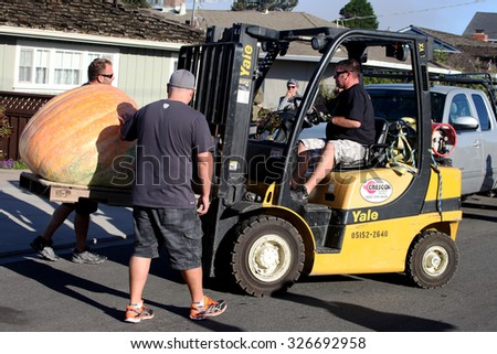 HALF MOON BAY, CA - OCTOBER 2015 - Pumpkin Festival workers forklift a giant pumpkin to the weighing scale at the 45th annual Pumpkin Weigh-Off contest in Half Moon Bay, California.  - stock photo