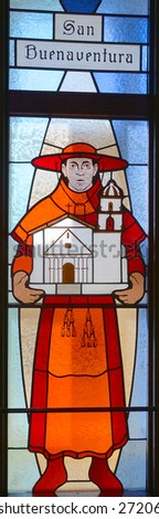 HALF MOON BAY CA USA APRIL 12: San Buenaventura (Saint Bonaventure) stained glass window in Our Lady of the Pillar Church on april 12 2015 in Half Moon Bay, CA,  - stock photo