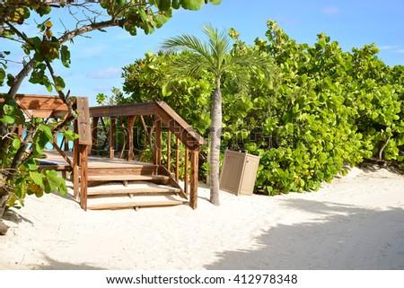 half moon cay beach stairs - stock photo