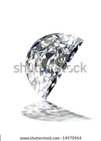 Half moon shape diamond on white - stock photo