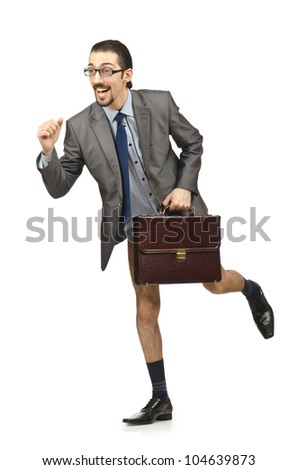 Half naked businessman on white