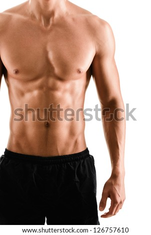 Half naked sexy body of muscular athletic sportsman, isolated on white - stock photo