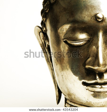 Half Of A Buddhas Face On White Background