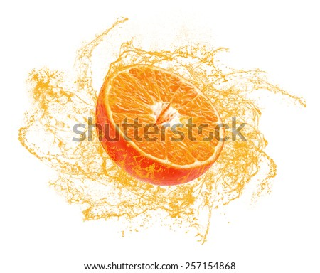 half of a ripe orange with splashes on white background - stock photo