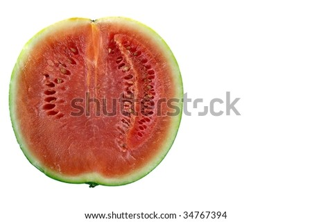 half of a watermelon isolated on white