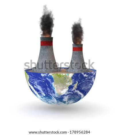 half of an earth globe with a coal plant; Elements of this image furnished by NASA (3d render) - stock photo