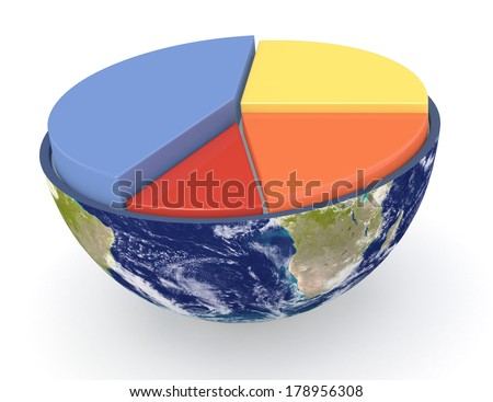 half of an earth globe with a pie chart;  Elements of this image furnished by NASA (3d render) - stock photo