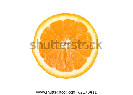 Half of an orange isolated on white background