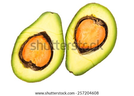 Half of avocado fruit isolated on white background - stock photo