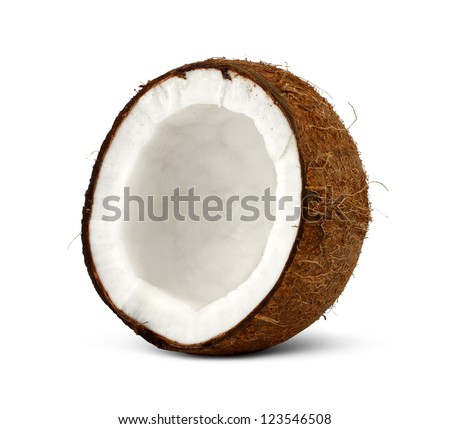 half of coconut isolated on white background - stock photo