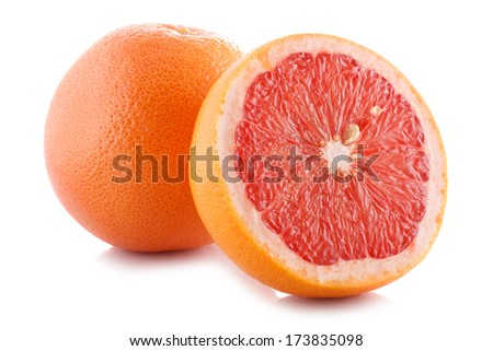 Half of fresh grapefruit on white background.  - stock photo