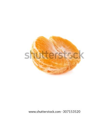 Half of fresh juicy peeled cleaned tangerine ripe fruit isolated over the white background - stock photo