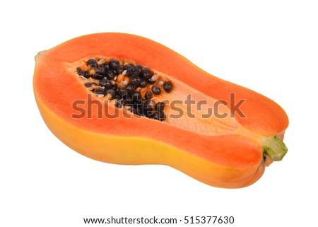 half of fresh ripe papaya isolated on white background