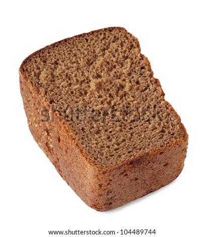 Half of fresh rye bread isolated on white background - stock photo