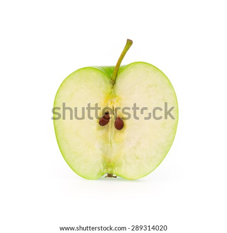 Half of green apple isolated on a white background