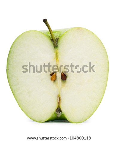 Half of green apple isolated over white background - stock photo
