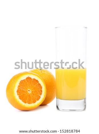 Half of juice glass and orange fruit isolated - stock photo