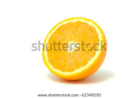 Half Of Juicy Orange Isolated on White Background