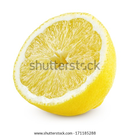 Half of lemon fruit isolated on white with clipping path - stock photo