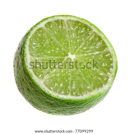 half of lime isolated on white background - stock photo