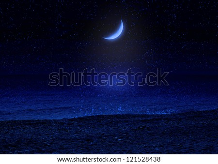 Half of moon in the star sky reflected in water - stock photo