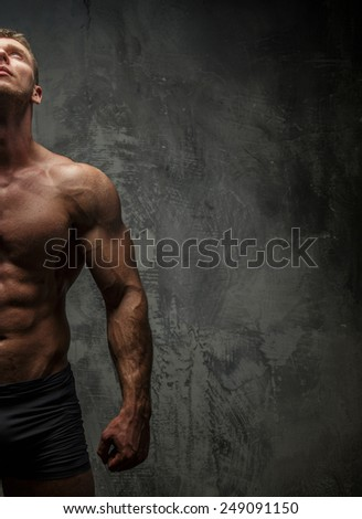 Half of muscular man on gray background. - stock photo