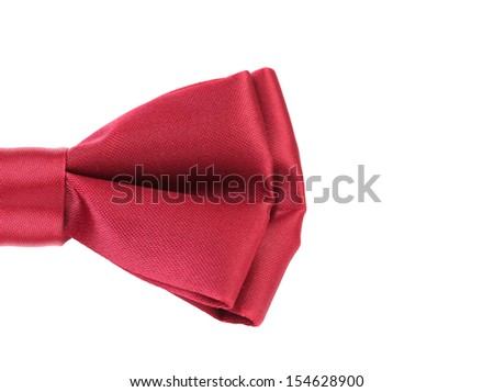 Half of red bow tie isolated on white background. - stock photo