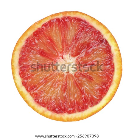 half of ripe blood red orange isolated - stock photo