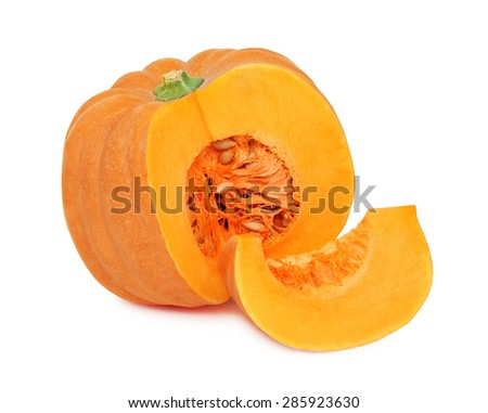 Half of ripe pumpkin and one slice isolated on white background - stock photo
