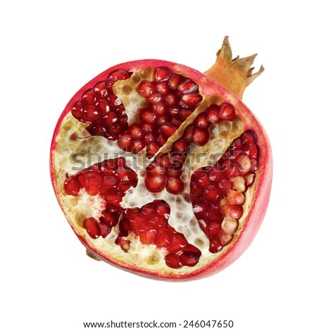 Half of ripe tasty pomegranate on a white background. Clipping path - stock photo