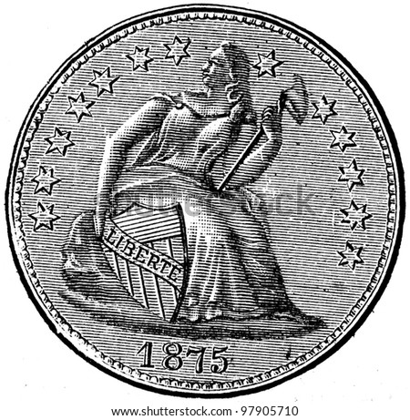 """Half of the dollar, USA, 1875 - an illustration to articke """"Coins"""" of the encyclopedia publishers Education, St. Petersburg, Russian Empire, 1896 - stock photo"""