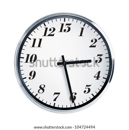Half of the fourth on the wall clock - stock photo