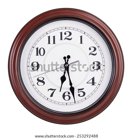 Half of the seventh on a round clock face - stock photo
