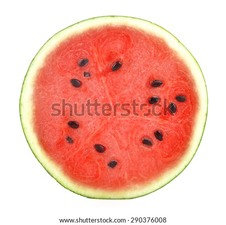 half of watermelon isolated on white background. - stock photo