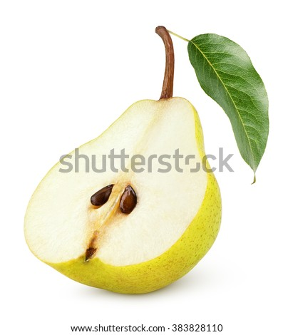Half of yellow pear fruit with leaf isolated on white background - stock photo