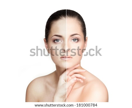 Half old and half young female?s portrait. Aging concept. - stock photo