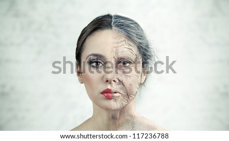 Half old half young woman - stock photo