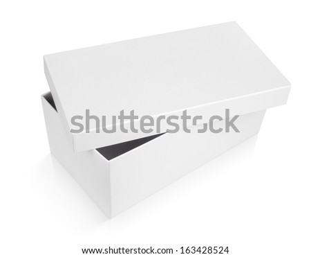 half-open shoe box isolated on white with clipping path - stock photo