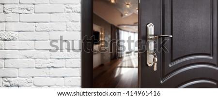 Half opened door to a living room. Door handle door lock. Lounge door & Half Opened Door Living Room Door Stock Photo 414965416 - Shutterstock Pezcame.Com