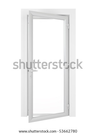 Half opened white door isolated on white background.