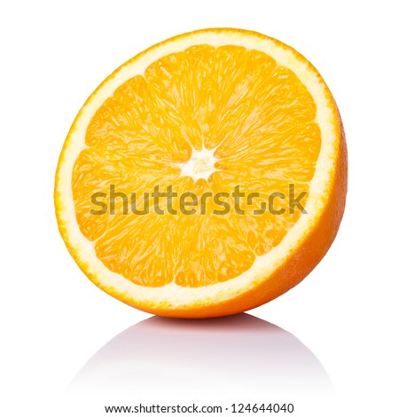 Half orange fruit on white background, fresh and juicy - stock photo