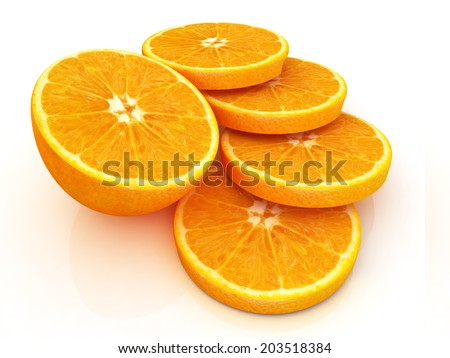 half oranges on a white background