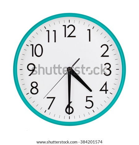 Half past four o'clock on the dial