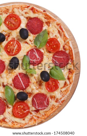 half pizza with salami, tomato, cheese, olives and basil isolated on white background. view from above. closeup