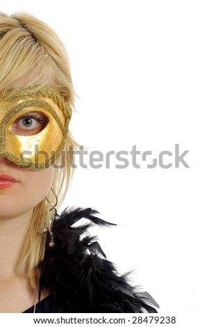 Half-portrait of lovely blond model posing with golden carnival mask. Isolated on white background. - stock photo