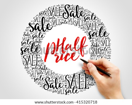 HALF PRICE Sale words cloud, business concept background - stock photo