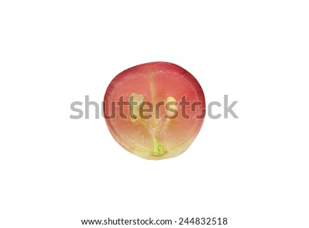 Half red grape isolated on white - stock photo