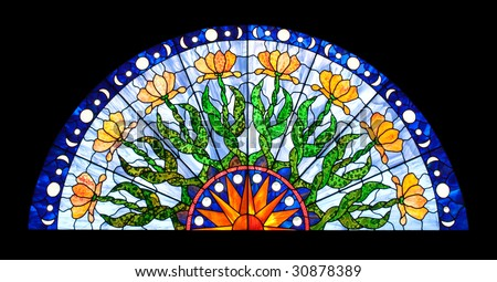 Half-round Stained Glass Window