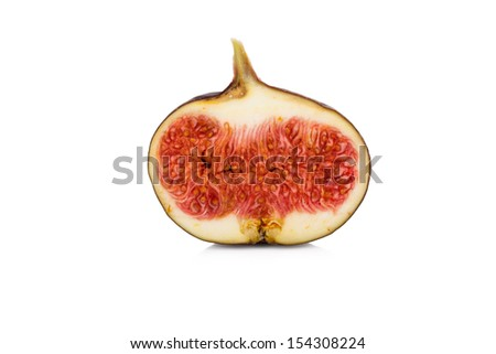 Half sliced fig isolated on white background